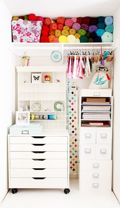 I love studio spaces that have great natural light and have all the necessary items neatly organized. I am currently in the search for yarn storage options so Pinterest is literally on fire! I decided