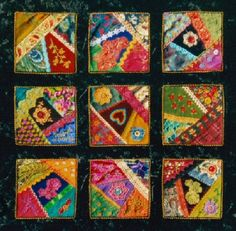 I ❤ crazy quilting & embroidery . . .  Crazy Sampler- 53 x 53cm. Assorted fabric and trims, machine pieced, hand embroidered and quilted. Blocks are mounted on black velveteen. ~By Marcie Carr