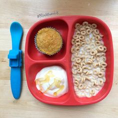 Little Dude is delighted because he asked to have cake for breakfast and I said yes! He's having carrot muffin ('cake'), low salt Cheerios, and natural yoghurt with honey (no honey for under 1s). Plate by @replayrecycled Truck spoon by @oogaababy #blw #babyledweaning #weaning #breakfast #replaykids #oogaalove #oogaabrandpartner #fooledya