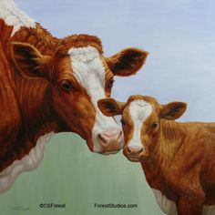Oil painting of a cow and calf by artist Crista Forest, ForestStudios.com. Fine Art Prints available