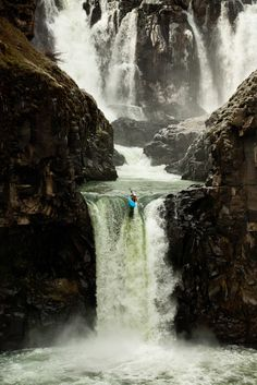 Celestial Falls along the White River in Oregon  yes that little blue dot is a kayaker