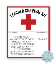 """Make a Teacher Survival Kit in just a few minutes with some basic office supplies and the """"Teacher Survival Kit"""" Free Printable offered by Tried & True!"""