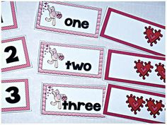 {FREEBIE} Valentine's Day Counting Students match each numeral to the corresponding number word and quantity card.