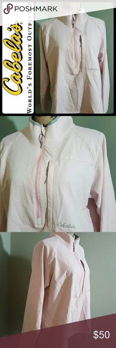 Cabela's Lightweight Pullover Top Cabela's Signature Top in Lightweight Pullover Style! Front Top Zip Closure with Left Side Zip Pocket! Brand Known as World's Foremost Outfitter, This Top is a Blend of Poly Spandex Material! Light Pink Shade with Gray Accent! Excellent Used Condition! Cabela's  Tops Sweatshirts & Hoodies