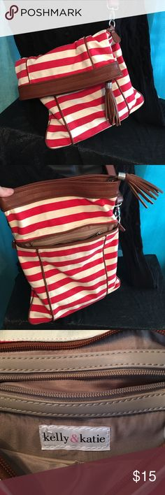 Cute Red and White with leather strap purse. Red and White Striped purse. Kelly & Katie Bags Shoulder Bags