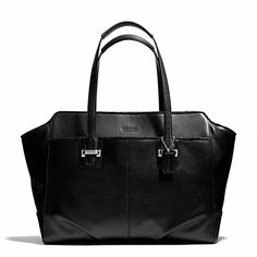 COACH   Taylor Leather Alexis Carryall, Silver/Black.