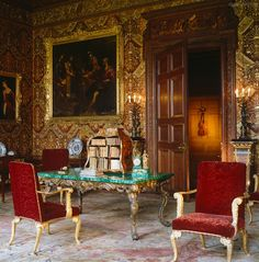 Chatsworth House ~ The walls of the State Music Room are lined with stamped and gilded leather and the trompe l'oeil violin behind a door in the north wall is by Jan van der Vaart, 1723