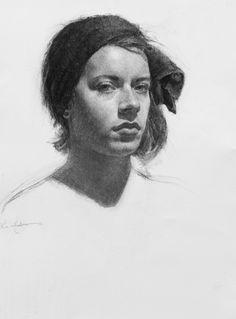 Self Portrait by Lis Andersen, Charcoal, Hein Academy of Art, SLC, UT