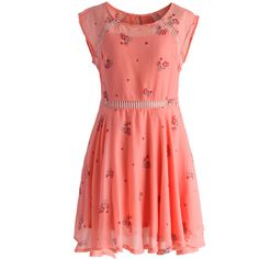 Chicwish Delicate Floret Eyelet Dress in Peach ($56) ❤ liked on Polyvore featuring dresses, pink, peach dress, red cut out dress, pink baby doll dress, baby doll dress and red cutout dress
