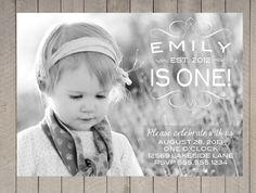 First+Birthday+Photo+Card+Invitation+Girl+Vintage+by+DesignOnPaper,+$16.00