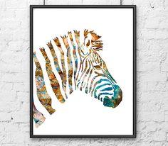 zebra watercolor print animal art watercolor by thenobleowl 1500