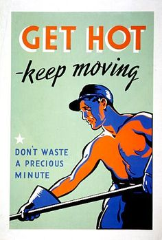 Industrial training propaganda! I like the simplicity and the coloring, but a different job and slogan would be great. keep it contemporary.