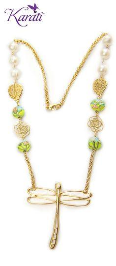 #Collar #Primavera #Libélula #Rosas #Hojas #Dijes #Murano #DIY #HazloTú #MateriaParaBisutería www.karati.com
