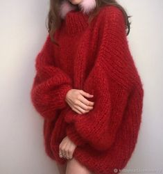 Chunky Knit - knit,knits-Red hot knit by theknitter ♥️🧶 theknitter knit knits knitting knitspo knitspiration knitinspiration knitstagram kn Knitwear Fashion, Knit Fashion, Fashion Outfits, Fashion Clothes, Kreative Jobs, Gros Pull Mohair, Mohair Sweater, Looks Style, Diy Crochet
