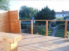Terrasse bois suspendue sur pilotis et balcons bois à Angers - Artisan construction - Menuisier Maine et Loire Balcony Design, Loire, Fence, Facade, Building A House, Sweet Home, Backyard, Outdoor Decor, Construction