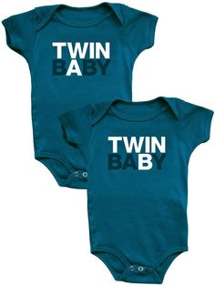TWIN BABY A/B - Organic Blue Onesie Set / snug attack   twins made modern