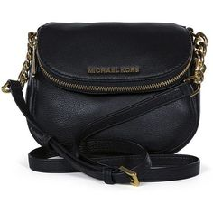 Michael Kors Bedford Flap Black Leather Crossbody Bag found on Polyvore
