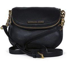 Michael Kors Bedford Flap Black Leather Crossbody Bag found on Polyvore