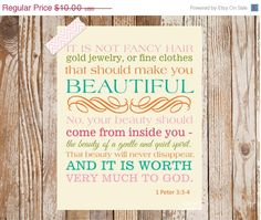1 Peter 3:3-4 Bible Verse (for little girl's bedroom)     {Etsy}