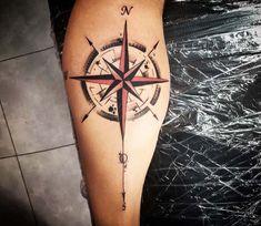 Compass Tattoo by Kafka Tattoo - Perfect black and red tattoo graphics . - Compass Tattoo by Kafka Tattoo – Perfect black and red tattoo graphics of the compass motif are m - Compass Tattoos Arm, Compass Tattoo Design, Map Tattoos, Arrow Tattoos, Body Art Tattoos, Viking Compass Tattoo, Anchor Compass Tattoo, Tattoo Arm, Tattoo Sleeve Designs