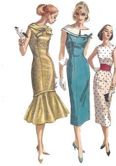 Vintage 1950's Sewing Pattern Nautical Sailor Fishtail Mermaid Dress Wiggle B 29 #Simplicity