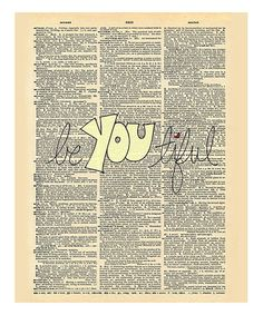 Another great find on #zulily! 'Beyoutiful' Dictionary Print #zulilyfinds