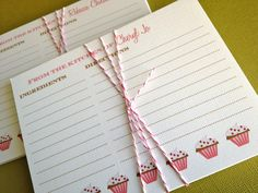 Cupcakes- 3 sets of 20 personalized recipe cards