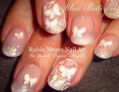 White Butterfly Nails! #nails #nailart #nail #art #design #tutorial #naildesign #diynails #youtube #robinmoses #robinmosesnailart #nailartdiy #whitenails #butterflynails #butterflies #glitternails #prettynailart