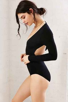 Out From Under Deep V Open Back Bodysuit - Urban Outfitters (GET IN LARGE)