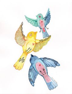 Mixed Media Watercolor Print Three Little Birds by Paintingbliss, $20.00