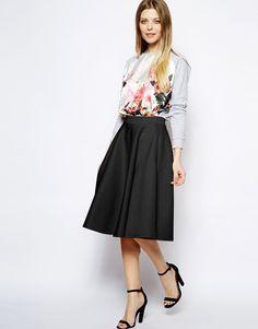 Jupe pour femme - asos -  - jupe mi-longue ��vas��e en n��opr��ne avec poches - noir