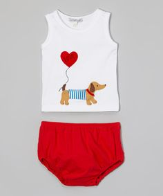 Love this White Dachshund Tank & Red Diaper Cover - Infant by Holiday by Victoria Kids on #zulily! #zulilyfinds