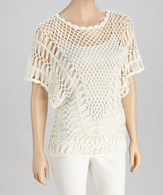 Take a look at this Ivory Crocheted Short-Sleeve Top by SR Fashions on #zulily today!