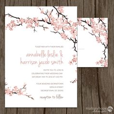 Cherry Blossoms Wedding Invitation U0026 RSVP Set   Floral Wedding Invitation,  Flower Wedding Invite, DC Wedding Invitations, DC Wedding Invite