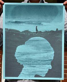 "Beautiful beautiful beautiful hand silk-screened poster. ""Land Bridge Silhouette"" Art Print by perfectlaughter on Etsy"