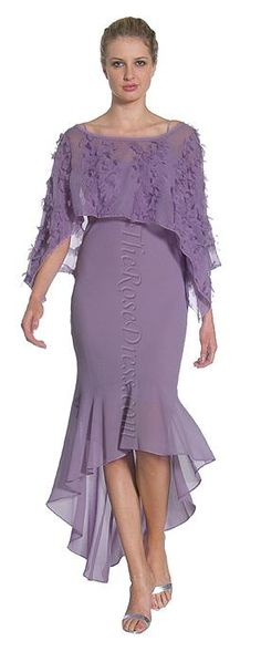 Lilac Chiffon Hi Low Evening Gown w/shredded Pullover Shawl. Event Dresses, Party Dresses For Women, Occasion Dresses, Summer Dresses, Formal Dresses, Sweet Dress, Evening Gowns, Designer Dresses, Beautiful Dresses