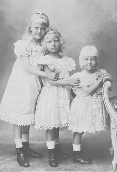 Their Serene Highnesses Princess Stephanie (1892-1975), Princess Marie Antoinette (1896-1965) and Prince Albrecht (1898-1977) of Hohenzollern-Sigmaringen