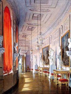 Gatchina Palace Greek Gallery in watercolors by Edward Hau.