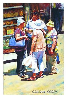 Faire ses courses, bavarder. / Do your shopping, chat. / Watercolor. / Aquarelle. / By Graham Berry.