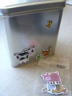 place stickers on a sheet of magnet paper then in a metal container (like a spray painted Altoids tin) for a quiet activity