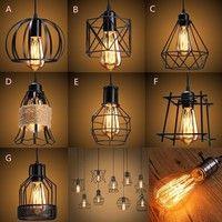 Wish | E27 Light Lamp Shade Loft Vintage Industrial Metal Cage Cafe Bar Home Decor Pendant Light Ceiling Lamp Hanging Chandelier + 110V/220V Edison Bulb