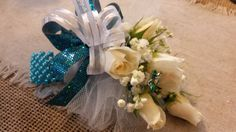 White spray rose prom corsage on a blue bracelet. Prom Knoxville florist, Always in Bloom White Spray Roses, Prom Corsage, Prom Flowers, Prom 2016, Hanukkah, Bloom, Wreaths, Bracelet, Decor