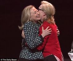 """""""This is what you get when you play a world leader,"""" said Meryl Streep, showing off the Academy Award she won last month for The Iron Lady. """"But this,"""" she continued, gesturing toward Hillary Clinton backstage, """"is what you get when you are one."""" Love this. Both amazing women."""