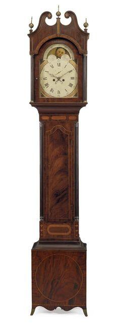 A FEDERAL INLAID MAHOGANY TALL-CASE CLOCK -  NEW JERSEY, 1790-1810