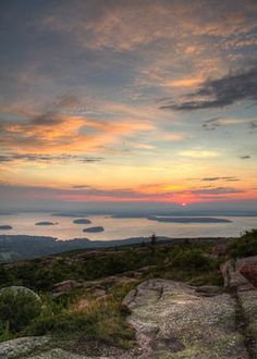 nation park, sunset, cadillac mountain maine, national parks, maine mountains