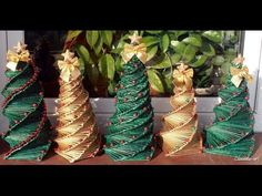 Jak zrobić choinkę z papierowej wikliny? [Christmas tree, paper wicker] (Claoodia Art) - YouTube