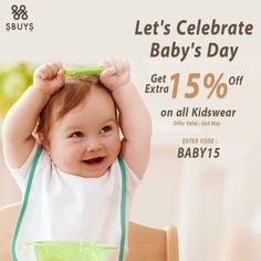 Lets celebrate Baby's Day and Get 15% OFF @ www.sbuys.in  #sbuys #kidswear #latesttrends #fashionistas #elegant #urbanstylewear #springseason #summertrends #sale #discounts