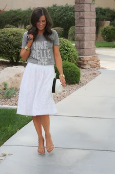 The Northeast Girl: JCrew White Floral Burnout Linen Patio Skirt, Grey Graphic Tee, Espadrille Sandals