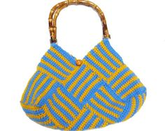 Weaving  Pattern Crochet Bag - Blue and Gold - FREE SHIPPING