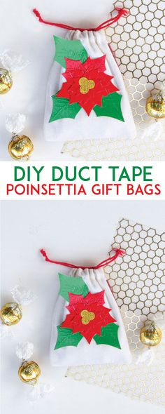 DIY Duct Tape Poinsettia Gift Bags by Lindi Haws of Love The Day